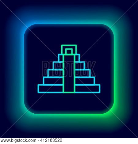 Glowing Neon Line Chichen Itza In Mayan Icon Isolated On Black Background. Ancient Mayan Pyramid. Fa