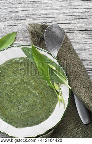 Fresh Ramson Or Wild Garlic Soup. Healthy Spring Food Concept