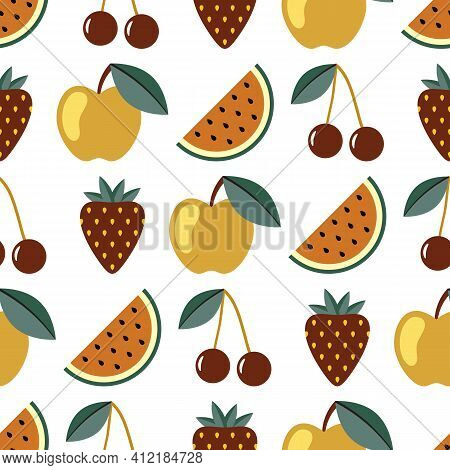 Fruit And Berry Seamless Pattern. Watermelon, Cherry, Apple, Strawberry Seamless Background. Juicy C