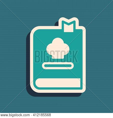 Green Cookbook Icon Isolated On Green Background. Cooking Book Icon. Recipe Book. Fork And Knife Ico