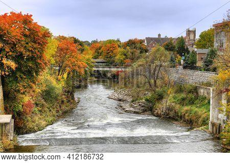 The Grand River At Fergus, Ontario, Canada In Autumn