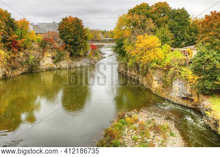 A View Of The Grand River At Fergus, Ontario, Canada In Autumn