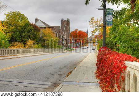 Fergus, Ontario/canada - October 15: A Scene Of The Downtown On [october 15, 2020] In [fergus]
