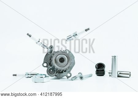 Car Motor Parts. Auto Motor Mechanic Spare Or Automotive Piece On White Background. Set Of New Metal