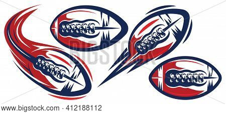 Set Of Color Templates For American Football. Flying Ball. Elements For Branding A Sports Team, Prin
