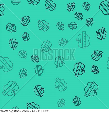 Black Line Apple And Measuring Tape Icon Isolated Seamless Pattern On Green Background. Excess Weigh