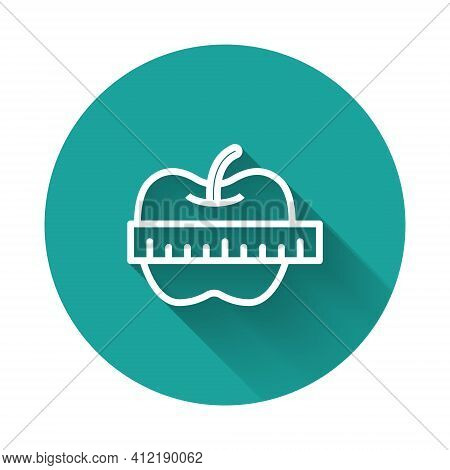 White Line Apple And Measuring Tape Icon Isolated With Long Shadow Background. Excess Weight. Health