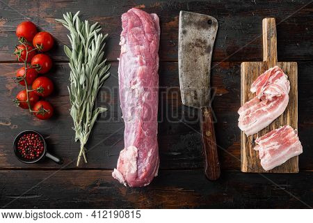 Raw Pork And Mash Gratin Ingredients Set With Old Butcher Cleaver Knife, On Old Dark  Wooden Table B