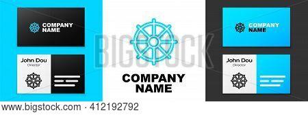 Blue Line Dharma Wheel Icon Isolated On White Background. Buddhism Religion Sign. Dharmachakra Symbo