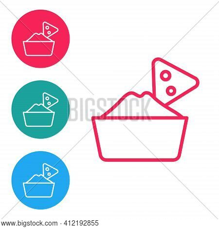Red Line Nachos In Bowl Icon Isolated On White Background. Tortilla Chips Or Nachos Tortillas. Tradi
