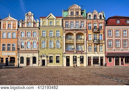 Facades Of Historic Tenements On The Old Market Square In Poznan