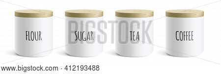 Vector Set Of White Ceramic Kitchen Containers.