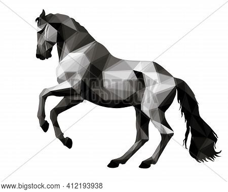 Prancing Horse, Isolated Image On A White Background In The Style Of Low Poly