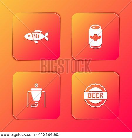Set Dried Fish, Beer Can, Brewing Process And Bottle Cap With Beer Icon. Vector