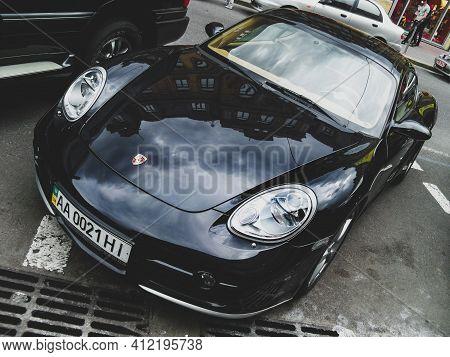 Kiev, Ukraine - May 14, 2011: Supercar Porsche Cayman S In The City