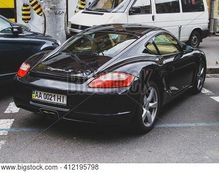 Kiev, Ukraine - May 14, 2011: Supercar Porsche Cayman In The City