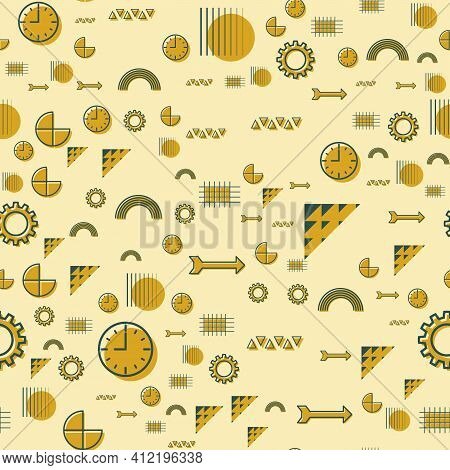 Vector Abstact Yellow Seamless Pattern With Geometric Icons.