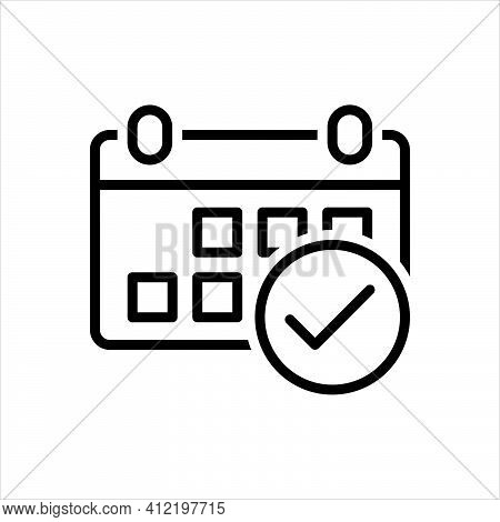 Black Line Icon For Attendance Presence Record Routine Working-hours Visitation