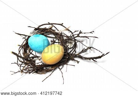 Colorful Easter Eggs In The Nest, Isolate, Top View. Happy Easter. Congratulatory Easter Background