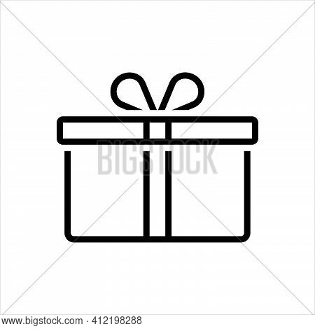 Black Line Icon For Present Surprise Package Prize Gift  Giftbox