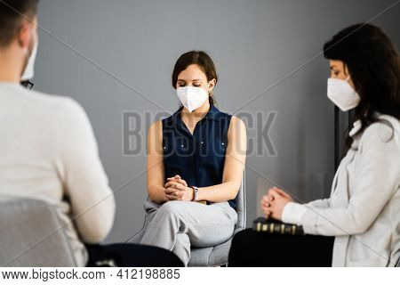 Bible Book Reading Diverse Group Praying In Face Mask