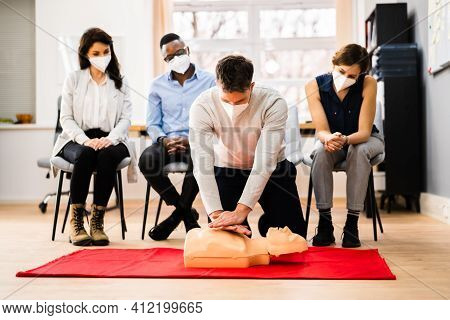 First Aid Cpr Resuscitate Training In Face Mask