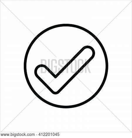 Black Line Icon For Checked True Ok Correct Right Accurate Confirm Checklist