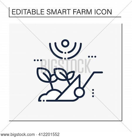 Harvesting Line Icon. Process Of Gathering A Ripe Crop From The Fields. Harvest Using Machines Or By