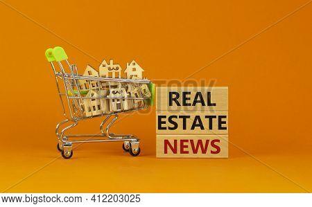 Real Estate News Symbol. Wooden Blocks, Words 'real Estate News' On Beautiful Orange Background. Sho