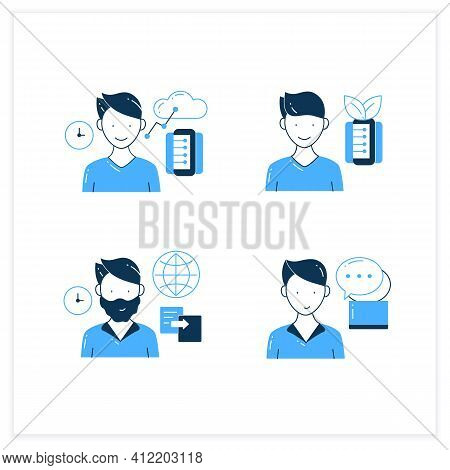 Information Overload Flat Icons Set. Consists Of Instant Messaging, Data Duplication, Information Ec