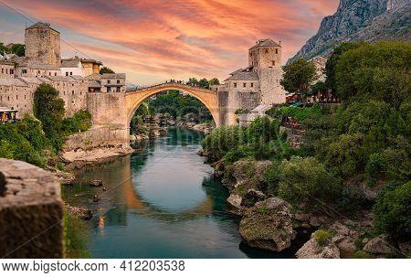 Mostar, Bosnia And Herzegovina. The Old Bridge, At Sunset. Travel In Europe.