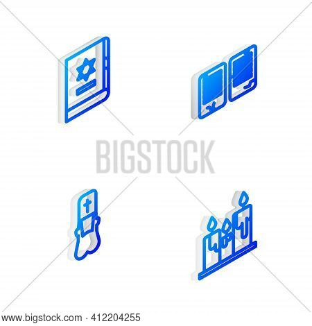 Set Isometric Line The Commandments, Jewish Torah Book, Priest And Burning Candles Icon. Vector