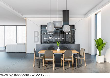 Open Space Eating Room Interior With Wooden Dining Table And Six Chairs, Sofa And City View On Backg