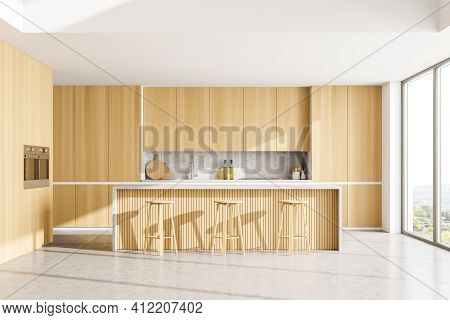 Light Dining Room With Wooden Minimalist Furniture On Marble Floor. Modern Eating Room And Window Wi