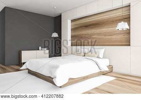 Mockup Blank Space Above White Bed With Linens And Pillows, Carpet And Parquet Floor, Side View. Woo