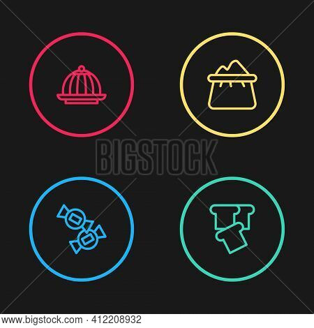 Set Line Candy, Bread Toast, Bag Of Flour And Pudding Custard Icon. Vector