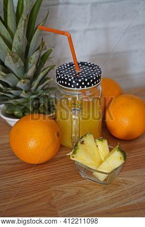 Vitamin Lemonade With Tropical Feeling. Tasty And Fruity Lemonade Arranged In Glass