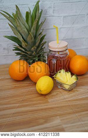 Tropical Red Lemonade In Glass. Tasty And Fruity Lemonade Arranged In Glass