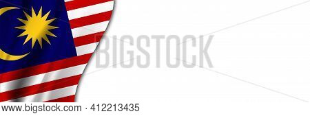 Malaysia Flag On White Background. White Background With Place For Text Near The Flag Of Malaysia.