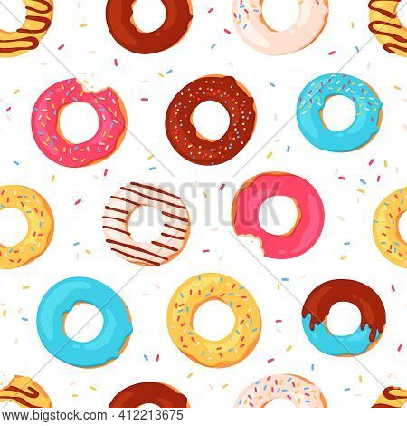 Donuts Seamless Pattern. Sweet Summer Print With Glazed Doughnuts. Bitten Donut With Pink Icing And