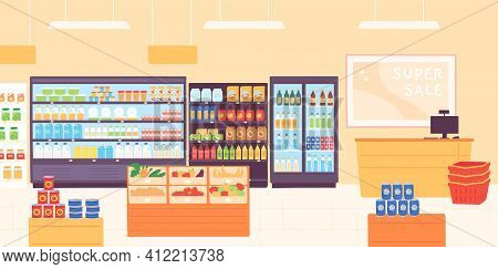 Grocery Shop Interior. Supermarket With Food Product Shelves, Racks With Dairy, Fruits, Fridge With