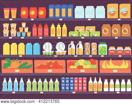 Supermarket Shelves With Food Products. Grocery Store Shelf With Assortment, Pasta, Diary, Flour, Fr