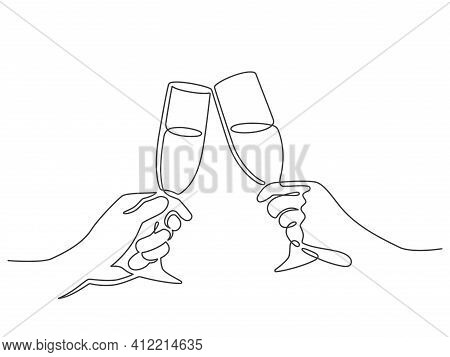 Continuous Line Champagne Cheers. Hands Toasting With Wine Glasses With Drinks. Linear People Celebr