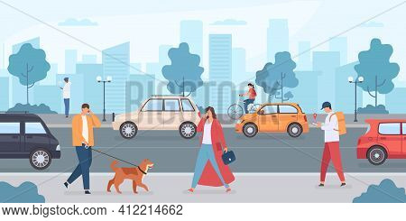 Cars On City Road. People Walking With Dog And Riding Bike On Street. Urban Infrastructure And Trans