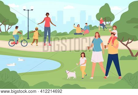 People In City Park. Happy Families Walking Dog, Playing In Nature Landscape And Riding Bicycle. Car