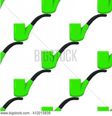 Irish Holiday St Patrick Day, Seamless Green Smoking Pipes. Pattern St Patrick Day Consisting Of Man