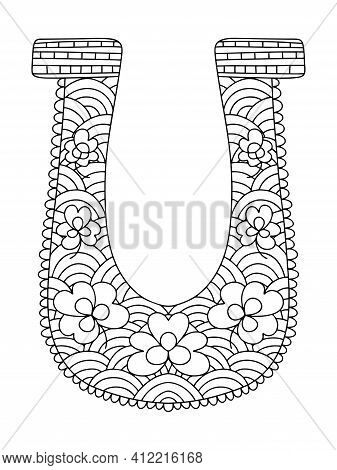 Horseshoe Coloring Page For Adults Stock Vector Illustration. Symmetrical Good Luck Symbol With Sham