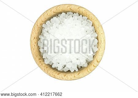 Coarse Salt In Wooden Bowl Isolated On White Background Top View