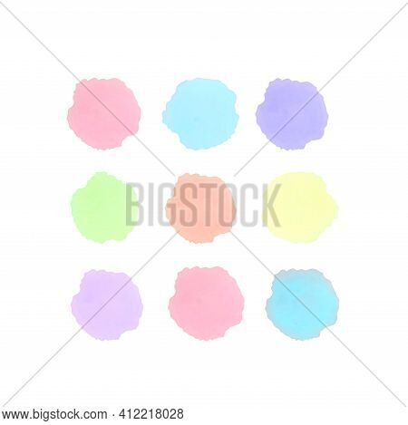 Watercolor Art Abstract Design Isolated Paper Stain. Backdrop Texture Vector, Paint Splatter Circle