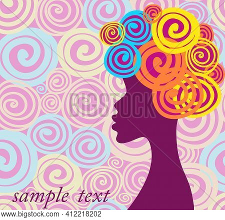 Advertising Banner Hair Silhouette Vector Black Profile. Face Portrait Head Female Beautiful, Young